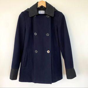 Nautica wool pea coat with hood, navy & grey
